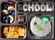 { School Lunch } For this Planetbox lunch there is an almond butter sandwich, alphabet cookies, fresh blueberries, oranges, cheese cracker a...