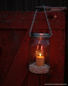 Mason Jar Lanterns Hanging Tea Light Luminary - Silver Chain - Wide Mouth Mason Jar Style