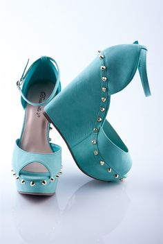 Get the Party Started Studded Peep Toe Wedges - Mint