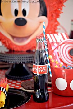 Cute Party Drink idea! Mickey Mouse Birthday Party via Karas Party Ideas | KarasPartyIdeas.com #mickey #mouse #cake #favor #decorations #supplies #birthday #party #ideas