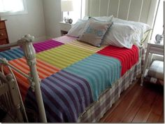 I absolutely love this blanket. So easy, simple, and so gorgeous! Has list of colors used and instructions .She made  three color blocks per panel, and three panels total