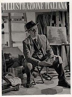"""Documenti: Antonio Donghi nel suo studio ,Copertina de """"L'Illustrazione Italiana"""""""