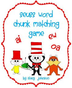 Seuss Word Chunk Matching freebie - -  Pinned by @PediaStaff – Please Visit http://ht.ly/63sNt for all our pediatric therapy pins