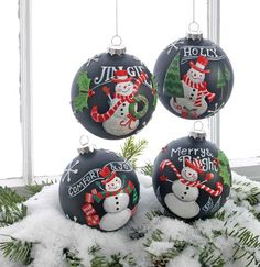 "RAZ 4"" Chalkboard Style Snowman Ball Ornament Set of 4"
