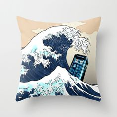 """Tardis Doctor who Vs The Great wave Decorative cushion Pillow Case 20"""", US $18.89"""
