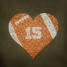 Women's Glitter Bling Football Heart With by RedheadedMonkeys, $27.00