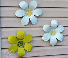 DIY Tin Flowers ...such a cute idea for the patio!
