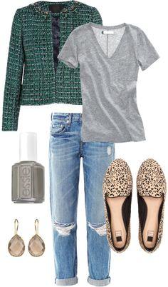 tweed jacket, boyfriend jeans, leopard shoes!