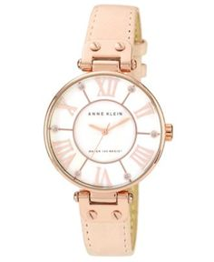 Anne Klein Watch, Women's Peach Leather Strap 34mm 10-9918RGLP - Women's Watches - Jewelry & Watches - Macy's
