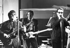 """roy orbison, bruce, elvis costello at """"Roy Orbison and Friends, A Black and White Night"""" (1988)"""
