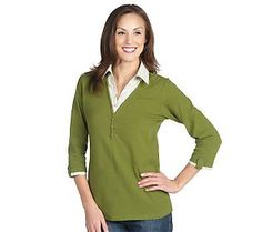 Denim & Co. 3/4 Sleeve Knit Top with Striped Woven Inset in  peridot, purple, red, lapis, brown & black...got all colors