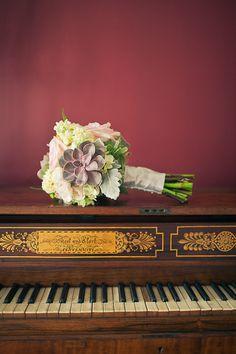Purple, Cream, Green bouquet