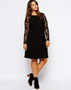 ASOS CURVE Exclusive Swing Dress In Lace With Raglan Sleeves