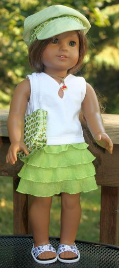 Green Ruffled Skirt Top Necklace cap and by buttonandbowboutique