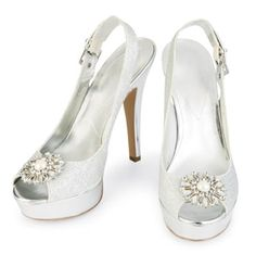 Quinceañera Classic Princess Silver Glitter Shoes with Brooch