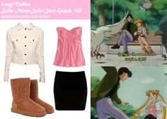 Like Sailor Moon Outfits on Facebook! Requested by:sweisenborn Forever 21 stitch detail denim jacket in White Denim American Eagle sweetheart tank in Neon Pink River Island black velvet mini skirt Ugg classic short chestnut boot