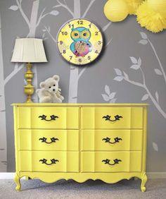 Kids Clocks, Girls Hootie Owl Children's Clock, Nursery Wall Clocks, Nursery decor for baby girls. $39.95, via Etsy.