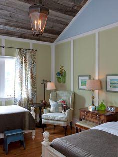 barn board ceiling in boy's room