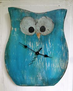 Wooden Owl clock. on etsy