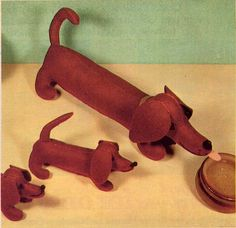Vintage Stuffed Felt Dachshund Dog Animal Sewing Pattern 1970s Mother and Pups Dog Family. $5.00, via Etsy.
