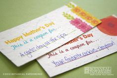 Mother's Day seed paper coupons, comes on a free printable sheet! http://goo.gl/0DFLF