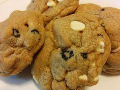 White chocolate cinnamon blueberry Biscoff cookies.
