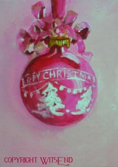 pink ornament painting vintage Merry Christmas Shiny Brite  still life art FREE USA shipping. by WitsEnd, via Etsy. SOLD
