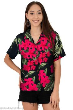 Floral Womens Hawaiian shirt black with plumeria & hibiscus. Floral button down blouse with open collar perfect for a luau, fancy dress party, uniform, casual or cruise. #hawaiianshirt #ladiesshirt #ladieshawaiianshirt #fancydress #uniform #luau #cruise #cruisewear #springbreak #barshirt #schoolies #luaushirt #luau #partyshirt #bluehibiscusshirt #floralshirt #uniforms