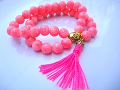 Neon Pink Chunky Round Beads and Tassel Drop Double by tocijewelry, $28.00