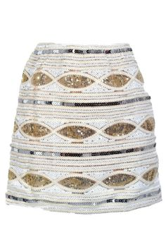 Glitz and Glamour Sequin Embellished Mini Skirt in Ivory    www.lilyboutique.com