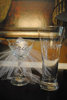 Wedding Glass Set-Bride Martini Glass and Groom Beer Glass Set. ok i want this EXCEPT, i want the beer glass for me, and knowing my luck, the man of my dreams will drink appletinis...
