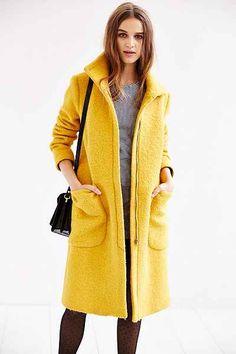 Edith & Ella Yellow High-Neck Coat