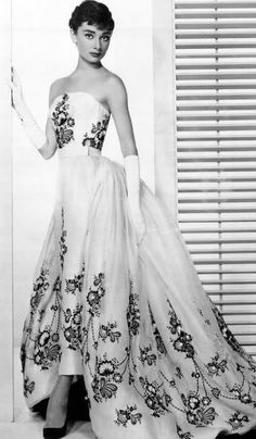 """Audrey Hepburn's ridiculously beautiful Givenchy dress from """"Sabrina."""" My favorite dress."""