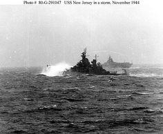 USS New Jersey in heavy storm Pacific  Nov1944