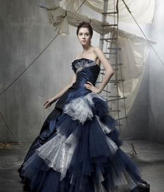 blue gothic wedding dress
