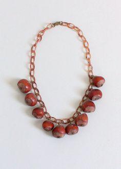 1940s hazelnut celluloid necklace