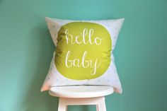 """We love this """"Hello Baby"""" Pillow from @Elizabeth Lockhart @ Iviebaby to bring a cute pop of color to the nursery! #nursery"""