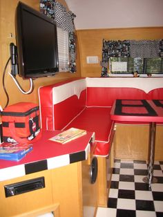 liking the inside of this camper, red with b floor vintage trailers, camper interior, vintag trailer, the road, vintag camper, bw floor