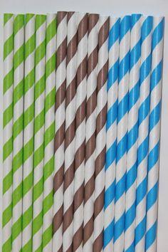50 boy monkey lime green brown aqua striped paper straws  birthday party event cake pop sticks Bonus diy straws flag