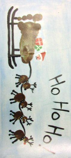 Kids Art/Craft - Christmas Santa foot print sledge and hand print reindeer platter.