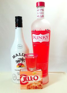 Kinky Malibu Barbie Jello Shots!   **1 box Peach Jello dissolved in 1 cup boiling water + 1/2 cup Kinky Liqueur + 1/2 cup Malibu Coconut Liqueur. Jellinate. Chill. Serve. :)