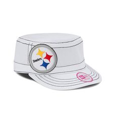 Pittsburgh Steelers Women's New Era White Chic Cadet Military Hat - Official Online Store
