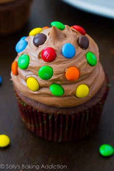 Homemade Chocolate Cupcakes with Nutella Frosting.