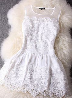 White lace dress; this would be *perfect* for the summer. Especially with a cardigan over it