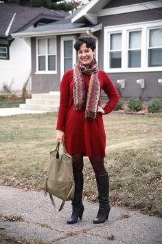 Missoni scarf, sweater dress, burgundy tights, slouch boots