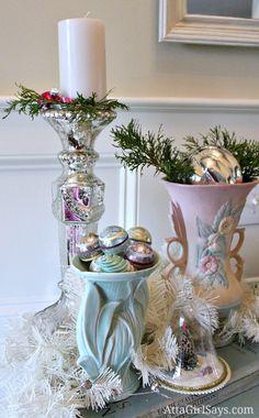 Vintage Pottery Christmas vignette