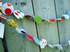 Fabric Garland Primary Colors Red Blue Yellow by PaisleyHandmade, $12.00