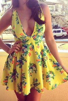 Yellow Floral Plunge Neckline Dress #crossback #partydress