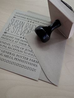 stamp diy wedding invitation. Much cheaper than getting each one printed!