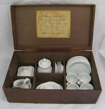 Antique Ironstone Child's Tea Set in Wooden Box Dated 1871